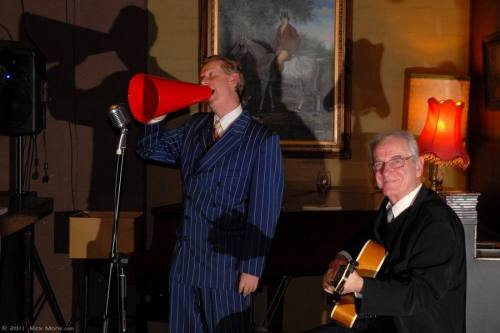 "Greg Poppleton singing ""Button Up Your Overcoat"" with Grahame Conlon (g)"