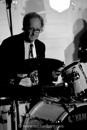Lawrie Thompson, drums, with the Greg Poppleton Bakelite Broadcasters at the Blue Beat. Photo by Michael Kery