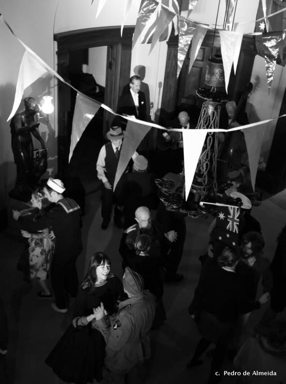 Guests dressed in 1940s style dancing to Greg Poppleton