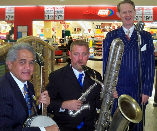 Greg Poppleton and the bakelite Broadcasters played at Australia's Biggest Morning Tea on Thursday 30 May for Australia's biggest Morning Tea, raising money for cancer research and support services