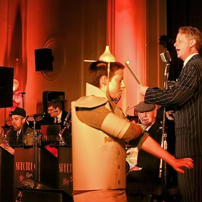 The Spectrum Big Band pianist dressed up as the Tin Man from the Wizard of Oz