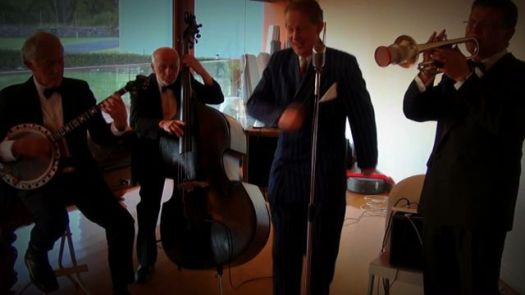 Greg Poppleton and the Bakelite Broadcasters - playing for a glamorous Murder Mystery Fun birthday party with a 1920s theme
