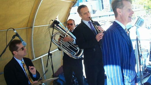 Also with Greg Poppleton in the Bakelite Broadcasters for the 2013 Aroma Festival were Ian Baker (tuba) David Horniblow (clarinet) Andrew Dickeson (drums)