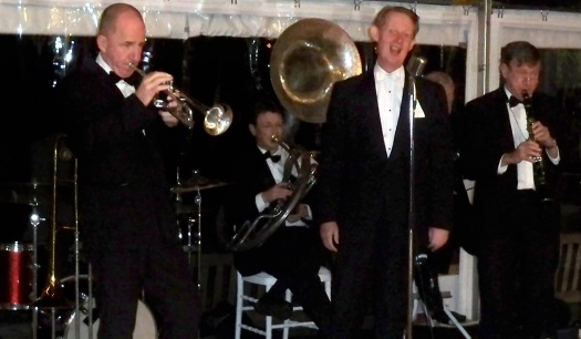 Greg Poppleton Sydney's only authentic 1920s singer, Al Davey trumpet and trombone, Paul Furniss clarinet and alto sax, Geoff Power sousaphone, Paul baker banjo, Alex Inman-Hislop drums