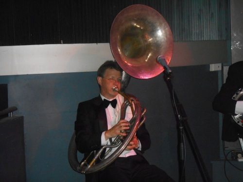 Geoff Power plays bass on the mighty 1920s sousaphone!