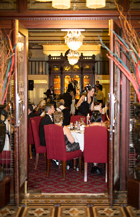 Looking at the band through the entranceway of the Grand Dining Room