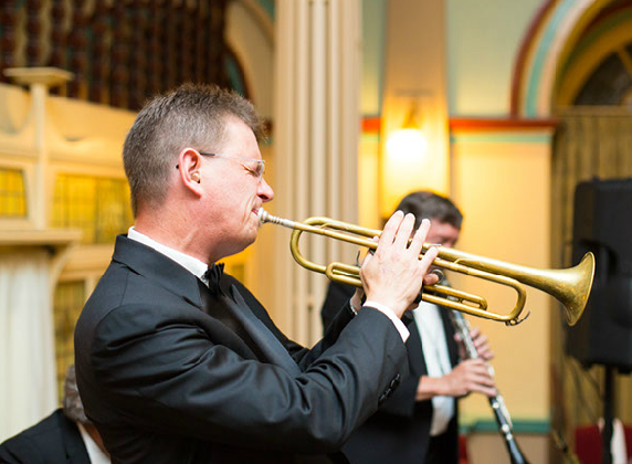 Geoff Power, trumpet and the great brass sousaphone with Greg Poppleton and the Bakelite Broadcasters