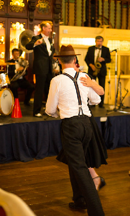 Swing dancers take over the floor