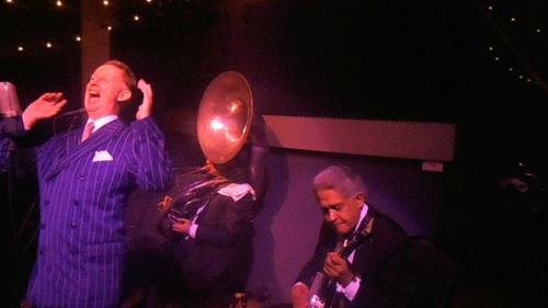 Greg Poppleton, authentic 1920s singer, Chuck Morgan, banjo and geoff Power on sousaphone
