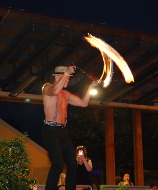 Thor the fire-dancer, intermission floorshow.  Photo by Mohan Sekaram.