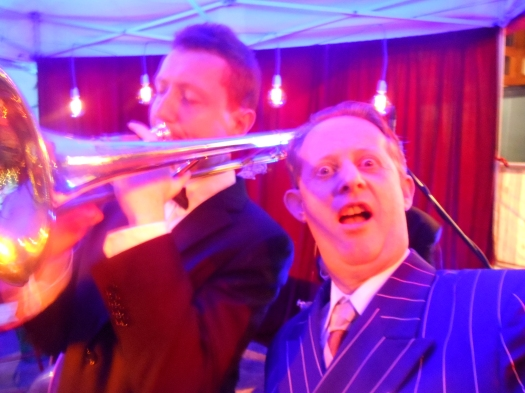 A selfie. Greg Poppleton, Australia's only authentic 1920s singer with trombonist, Greg Chilcott, in Greg Poppleton and the Bakelite Broadcasters.