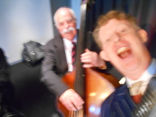 A blur of action. A selfie while singing 'The Way You Look Tonight' with Darcy Wright on double bass. I also took selfies with Grahame Conlon on guitar and Bob Gillespie on double bass but they were far too blurry for human consumption.