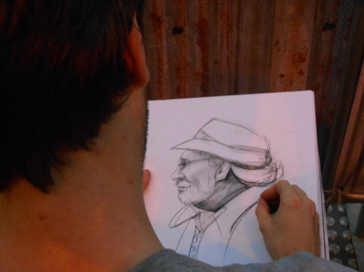 Drummer, Laurie Bennett, sketched by a roving artist from the Julian Ashton School of Art.