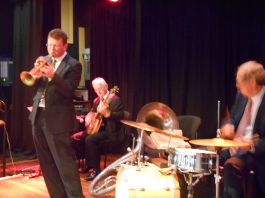 Greg Poppleton and the Bakelite Broadcasters, authentic 1920s singer with red hot jazz band, Geoff Power (tp and sousaphone) Grahame Conlon (banjo) and Lawrie Thompson (drums).