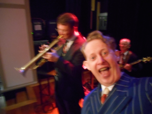 Since I was taking the photos, I had to fit in a selfie during a band instrumental. Myself, Greg Poppleton, between, Geoff Power on trumpet and Grahem Conlon on banjo.
