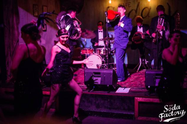 Greg Poppleton and the Bakelite Broadcasters at a 1925 Prohibition Party at The Soda Factory.