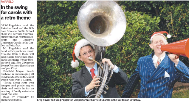 Greg Poppleton and the Bakelite Broadcasters get into the Christmas spirit for the Fairfield Advance.