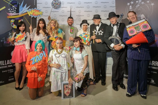 Greg Poppleton and the Bakelite Broadcasters with all the Bizarre characters at The Rocks Village Bizarre 2014
