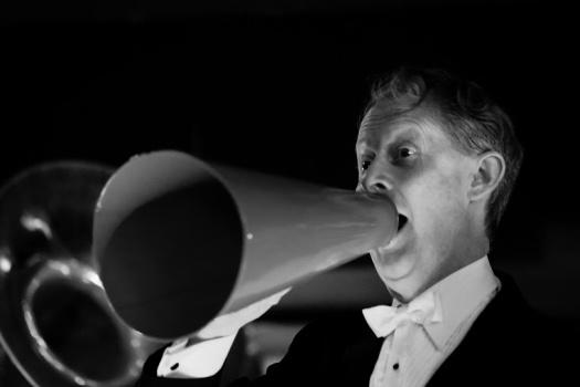 Greg Poppleton singing through the 1920s megaphone