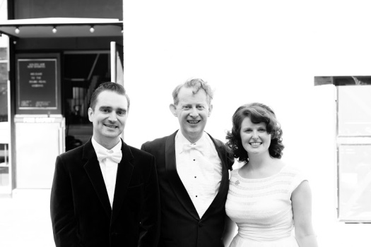 Jakob, Greg and Amalia after their beautiful reception outside the venue.