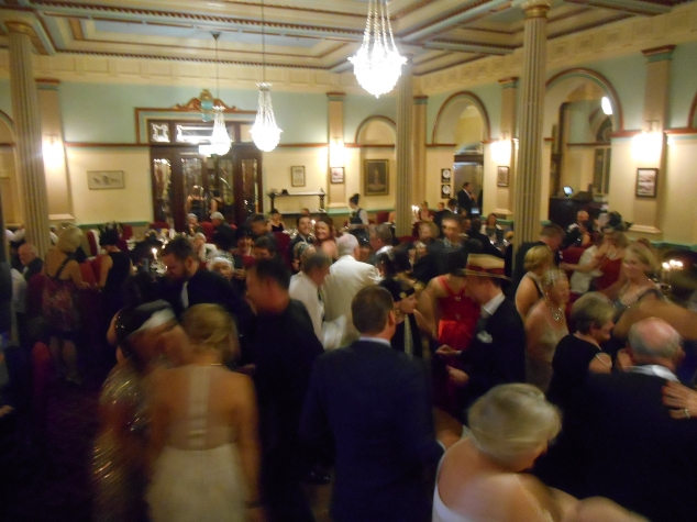 The Grand Dining Room of the historic Carrington Hotel, Katoomba. Dancers fill the room as Greg Poppleton and the Bakelite Broadcasters play. (Photo taken from the bandstand)