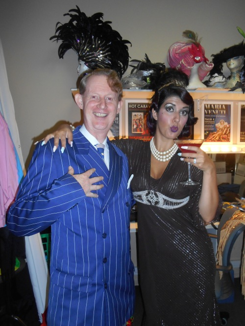 1920s band leader and singer Greg Poppleton, backstage at the Gin Mill Social with MC, Lauren LaRouge!