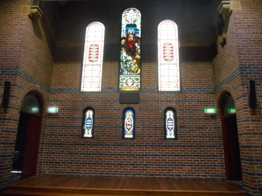 Inside the Art Gallery. The stage on which the Trio played inside the modified Methodist church.