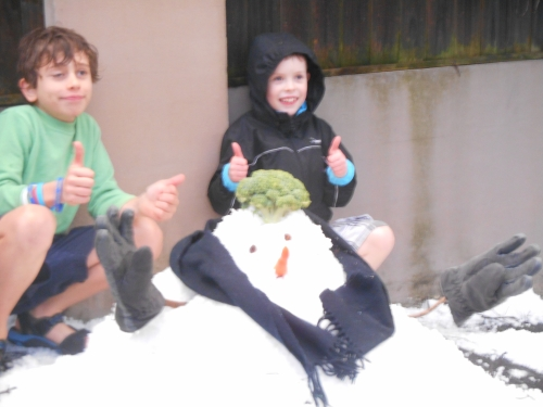 Owen and Flynn's snow person.