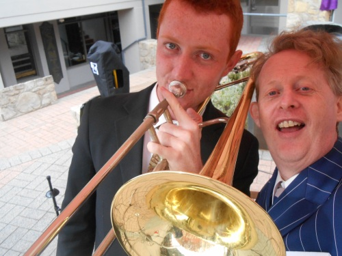 Selfie, first show in the Village Square. Greg Poppleton (1920s singer) Greg Chicott (trombone) Greg Poppleton and the Bakelite Broadcasters.