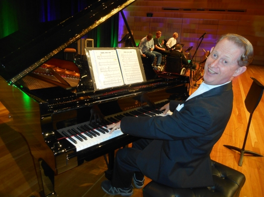 Greg Poppleton at the Concourse Steinway piano which was played by Lounge Bar Lothario Bradley Newman.