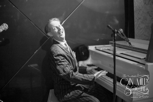 As the Broadcasters play a hot instrumental like Bye Bye Blues or Hindustan, Greg Poppleton gets in some stomping faux piano. Bing Crosby used to play a ukelele with rubber strings in The King of Jazz,  Paul Whiteman's, 1920s Orchestra.