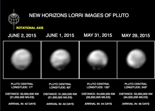 The latest processed pictures of Pluto from NASA's New Horizon space probe