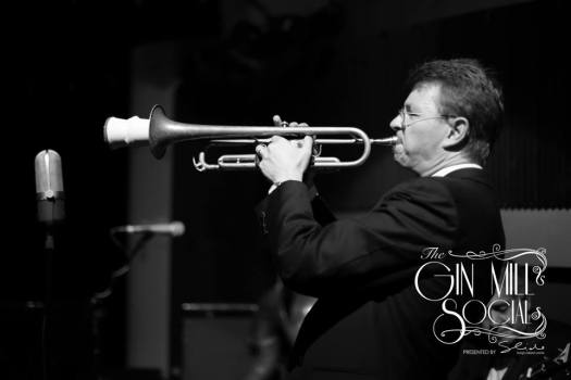 Geoff Power, trumpet and sousaphone man with Greg Poppleton and the Bakelite Broadcasters 1920s Trio at the Gin Mill Social.