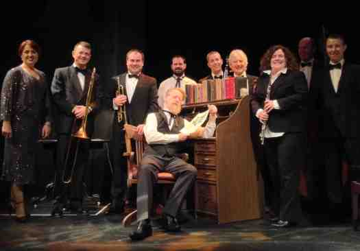 Cast (l-r) Tanya Christensen (voc) Geoff Power (tb) Craig Mitten (trumpet, arranger and band leader) Stephen Grant (p)  Phil Harper (cl) Marcus Holden (vln) Sandra Mitten (flute and piccolo) Ed Baston (db) Chris King (p) Greg Poppleton (seated front - narrator, John Stack)