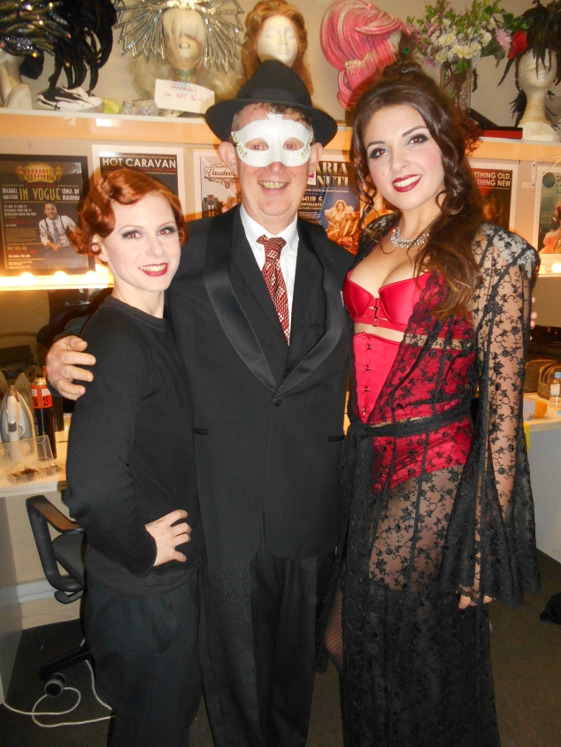 Backstage at the 17 July Gin Mill Social. (L-r) Aerialist, acrobat and fan dancer Missy, Greg Poppleton 1920s singer and band leader, Alicia Gin Mill MC and creator of Slide's Risque Revue.