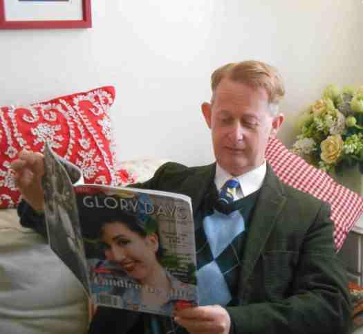 Greg Poppleton, authentic 1920s - 1930s singer, kicks back between shows reading Glory Days