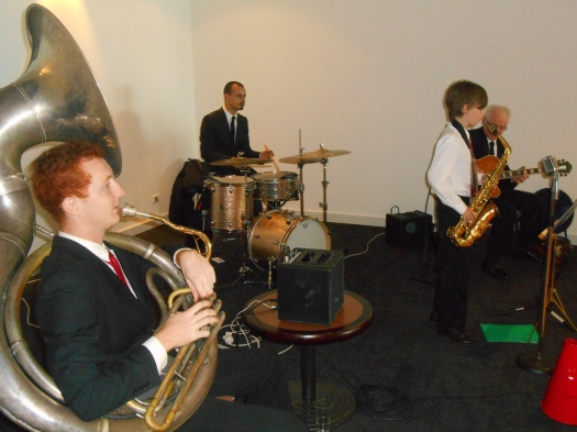 The band playing 'Things Ain't What They Used To Be'. From left to right, Greg Chilcott sousaphone doubling trombone, Damon Poppleton alto sax, Alex Inman-Hislop drums and Grahame Conlon guitar doubling banjo.