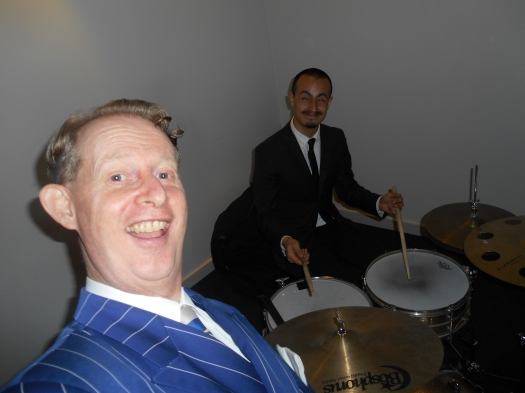 Yours truly, Greg Poppleton, singing the songs of the 1920s and 1930s. Mugging for a selfie with Alex Inman-Hislop on drums.