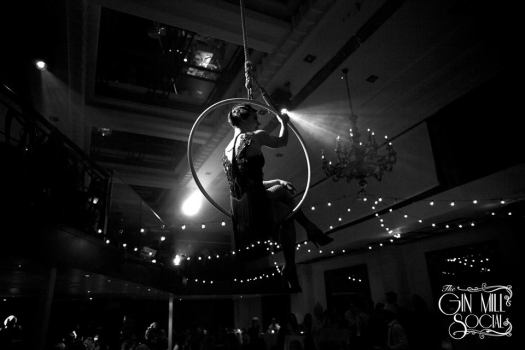 Missy entertains with aerials and fan dancing. She greets you from high on her hoop as you enter. Her athletic tableaux of English authors was breathtaking.