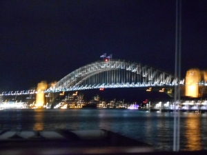 Approaching the Sydney Harbour Bridge.