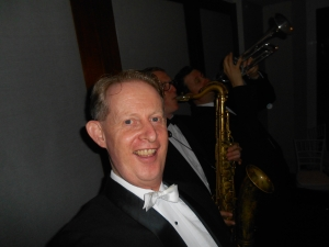 1920s-30s singer and band leader, Greg Poppleton. Tsk, tsk - a selfie. With Ben Jones on tenor sax and Todd Hardy on trumpet wailing on Royal Garden Blues in the background.
