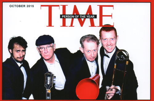 Greg Poppleton and the Bakelite Broadcasters captured for all Time by the OMG Photo Booth. L-r Chris O'Dea sax doubling clarinet, Grahame Conlon guitar, Greg Poppleton 1930s singer with megaphone and Greg Chilcott rombone doubling sousaphone