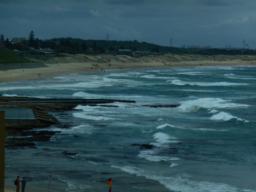The view from the room at Cronulla RSL, looking out over Cronulla Beach after a week of storms and rain.