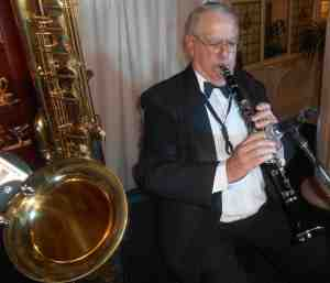 Jim also played clarinet and alto sax at the Great Art Deco Ball. That's his bass sax in the foreground.