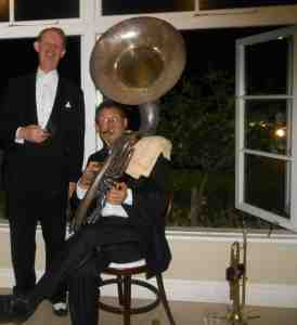 Greg Poppleton, band leader and Australia's only authentic 1920s - 1930s singer with Geoff Power on sousaphone.