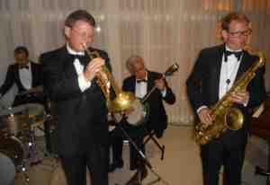 Greg Poppleton and the Bakelite Broadcasters (l-r) Alex Inman-Hislop (drums) Geoff Power (trumpet doubling sousaphone) Chuck Morgan (banjo doubling guitar) Ben Jones (tenor and alto saxes plus clarinet)
