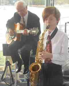 Damon Poppleton (alto sax) improvises with Grahame Conlon (guitar) on Take The A Train.