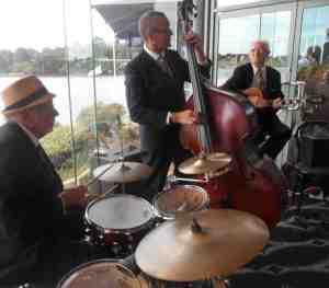 Greg Poppleton and the Bakelite Broadcasters rhythm section. Laurie Bennett (d) Dave Clayton (db) Grahame Conlon (g)