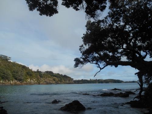 Looking east over Hekerua Bay from the stony beach.