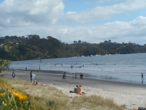Onetangi Beach opposite Venue where Greg Poppleton and the Bakelite Broadcasters played.